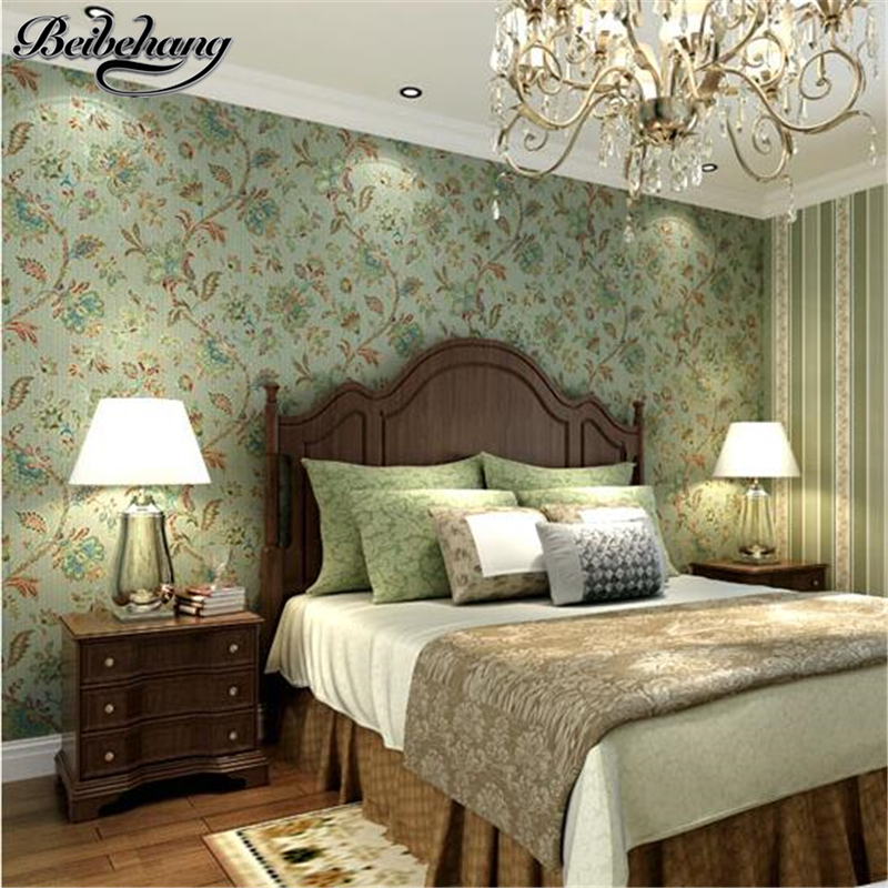 beibehang American Countryside Pastoral Nonwovens Striped Wallpapers Bedroom Living Room Background American Retro Wallpaper