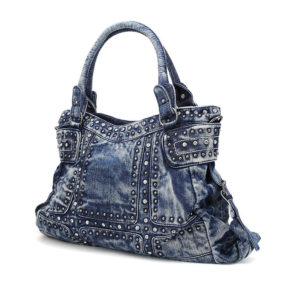 5119b2079c7e Купить Поцелуй KAREN Винтаж модные женские туфли сумка джинсовая Для женщин  сумки Diamond заклепки джинсы Для женщин Сумки Для женщин сумка  Повседневно..