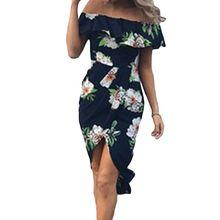 купить Women Sexy Off Shoulder Ruffle Midi Slim A-Line Dress Boho Floral Wrap High Split Side Evening Party Irregular dress по цене 457.87 рублей