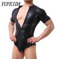 YUFEIDA Men's Faux Leather Black Bodysuit Latex Catsuit Men Faux Leather Crotchless Gay Men's Body Suit Sexy One Piece Underwear