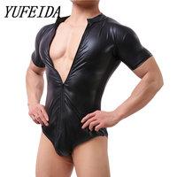YUFEIDA Men's Faux Leather Black Bodysuit Latex Catsuit Men Faux Leather Crotchless Gay Men's Body Suit Sexy One Piece Underwear
