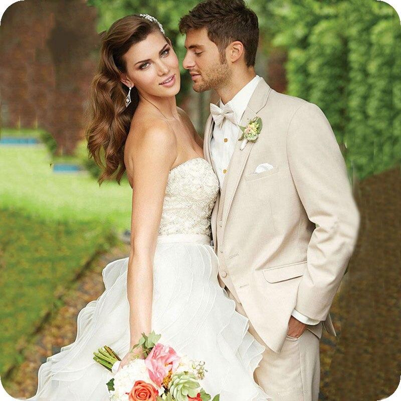 Custom Made Beige Men Suits Groom Wedding Suits Man Blazer Jacket Slim Fit Groomsmen Tuxedo Costume Homme Mariage 3Piece Ternos in Suits from Men 39 s Clothing
