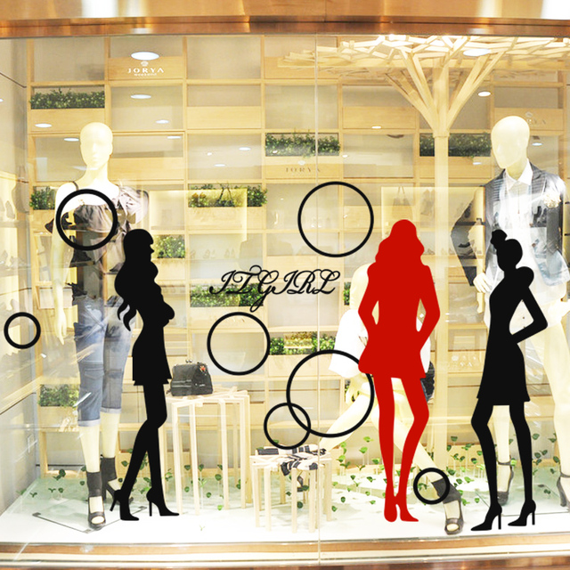 2a58431291b6 Car Clothing Store Decal Sexy Lady Girls Glass Wall Sticker ...
