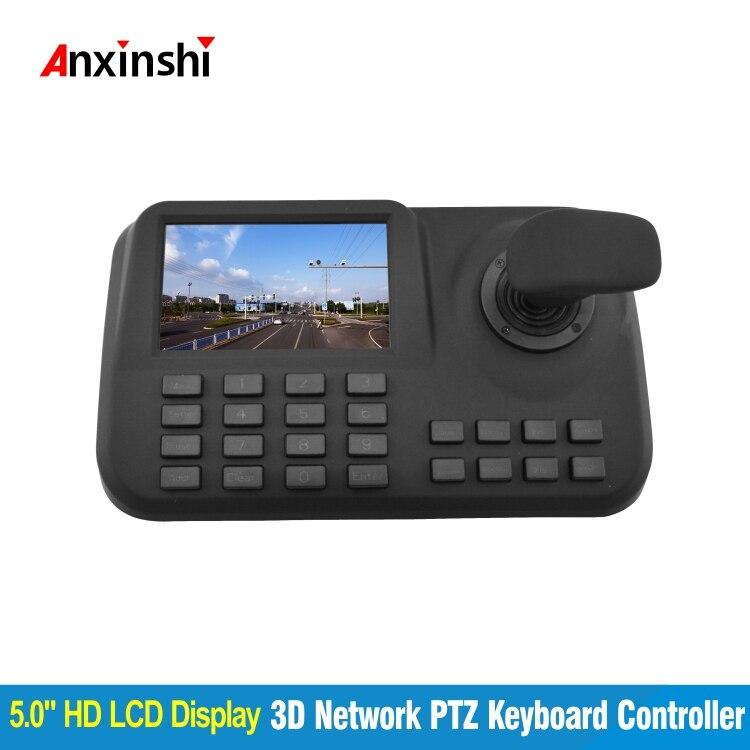 Producto caliente 5 pulgadas LCD IP PTZ teclado para cámara controlador 3D Joystick pantalla de visualización de red controlador de teclado PTZ onvif