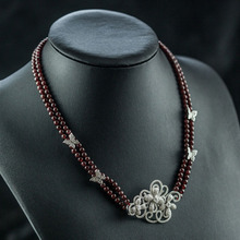 Tranditional Flower Natural stone Two Layer Rope Chain Necklaces for women Red Garnet Choker necklaces