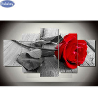 Full Square 5D DIY Diamond Painting red Rose Orchid Still life Diamond Embroidery Cross Stitch Mosaic Sticker Home Decor 5pcs