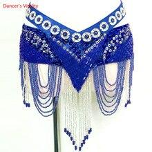 جديد 6 ألوان الرقص الشرقي عملة حزام القبلية زي هامش شرابة حزام الرقص الشرقي حزام خصر للبيع