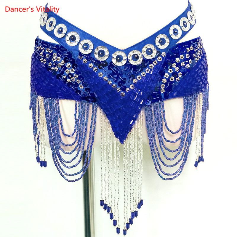 New 6 Colors Belly Dance Coin Belt Tribal Costume Fringe Tassel Belt Belly Dance Waist Belt On Sale