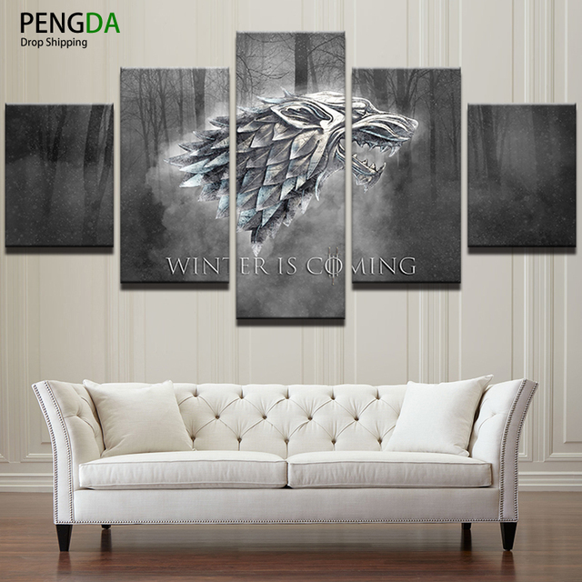 Canvas Wall Art Prints Winter Is Coming Painting Frame Modern Pictures 5 Panels TV Play Game Of Thrones Poster Home Decor