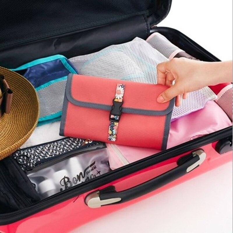 Inho рискованным печати маленький цветочный косметичка полиэстер складной клатч Макияж сумка Organizor висит косметичка