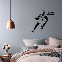 цена на Free shipping diy Vinyl Removable Sports Wall Stickers Basketball Player Isiah Thornie Wall Stickers Home Decor Decals