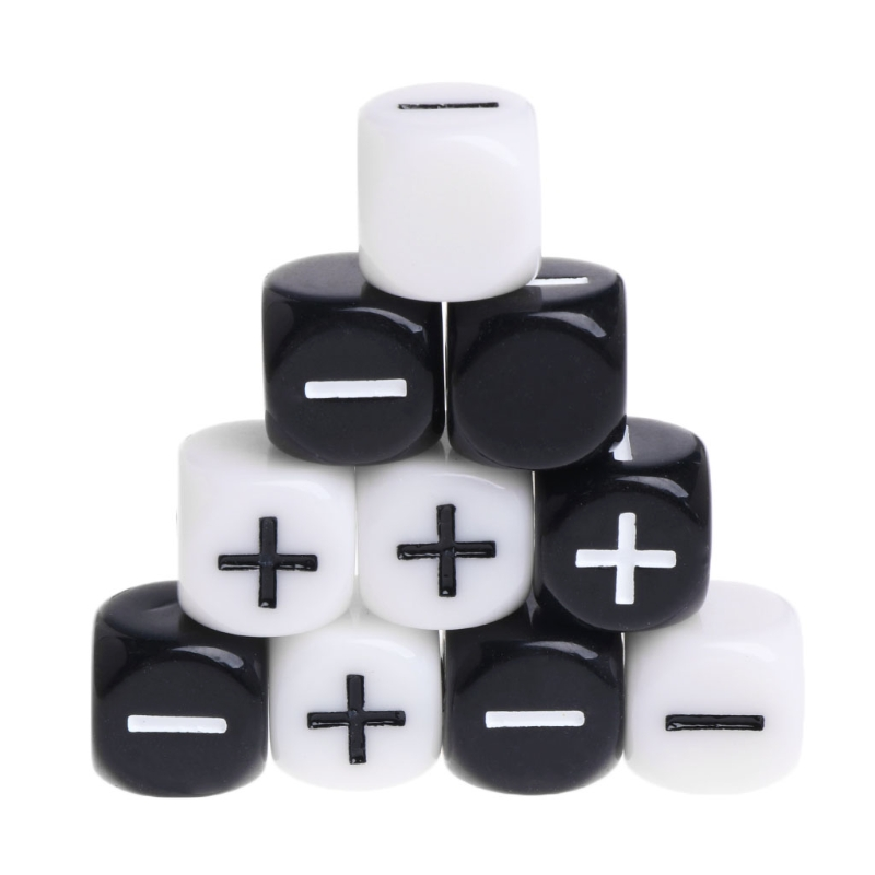 Black And White Multicolor Acrylic Cube Dice Beads Six Sides Portable Table Games Toy Plus And Minus