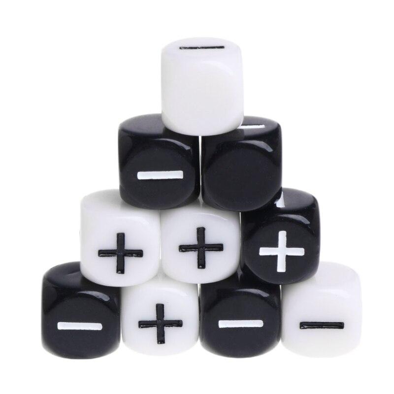 Dado de cubo acrílico multicolor preto e branco, seis lados, jogos de mesa portátil, brinquedo, plus e menor