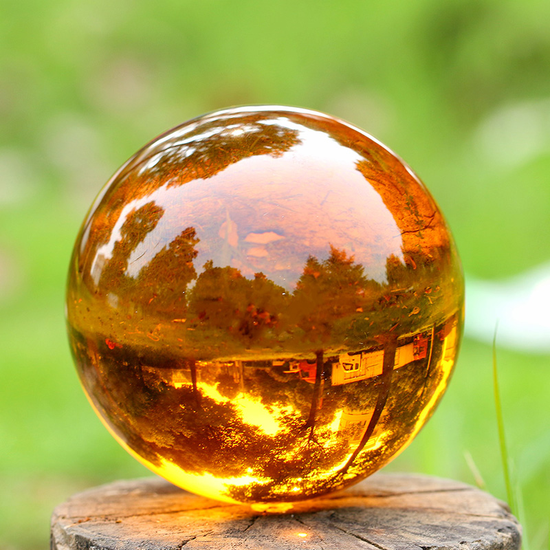 H&D Crystal Ball Asian Natural Quartz Amber Crystal Healing Quoted Ball With Base Sphere Home Fengshui Decor Birthday Gift