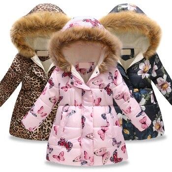 de651c0cd Abrigo de invierno para niños, chaqueta cálida para niñas, moda para niños  con estampado de ropa de abrigo, vestido de Navidad para niñas