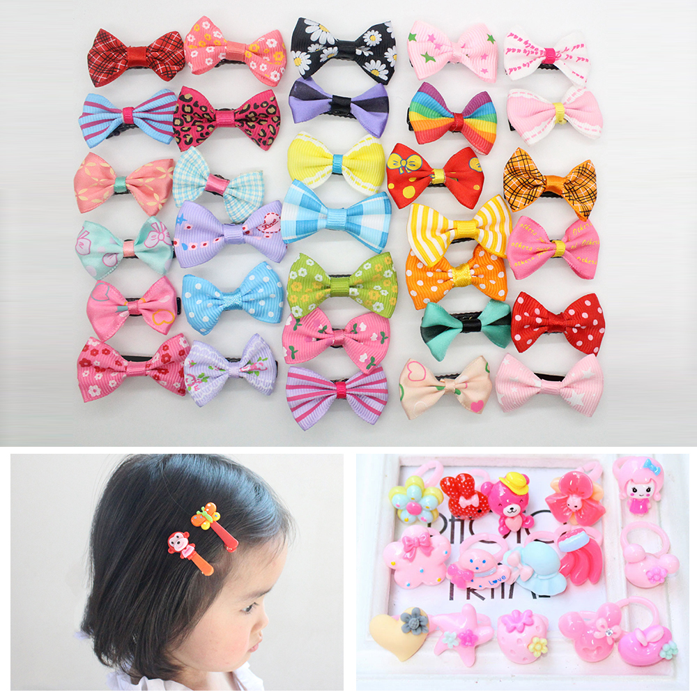 20PCS Mix Color Barrette Baby Girl Hair Clip Cute Flower Solid Cartoon Handmade Hairpin Children's Hair Bands Ring Cheap Hairpin