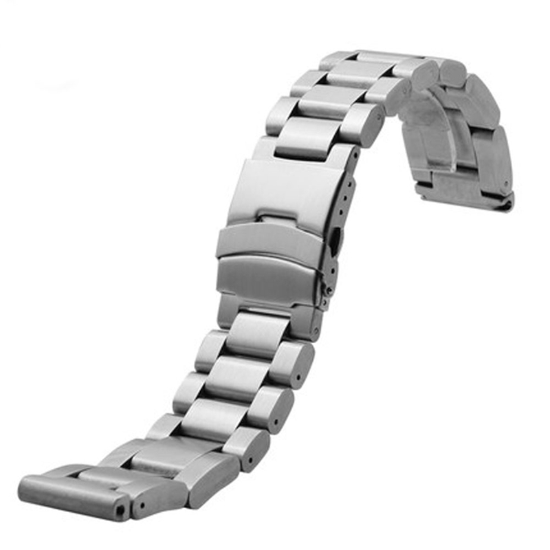 20mm 24mm 26mm Silver Solid Stainless Steel Watch Band Bracelet Folding Clasp Wrist Strap Replacement for Mens Watches