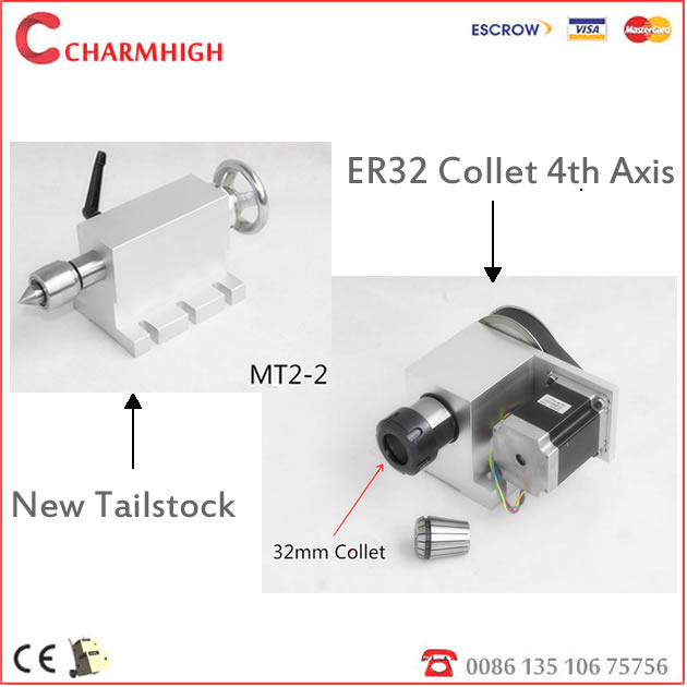 Free shipping Hollow Shaft ER32 Collet CNC 4th Axis A Axis Rotary Axis Tailstock CNC Dividing