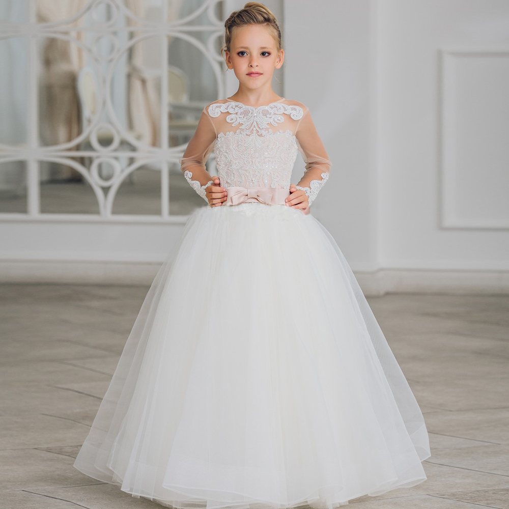 2017 New Flower Girl Dresses Long Sleeves O-neck Back Sheer Tulle Ball Gown Kids Prom Evening Party Communion Dresses Vestidos 2017 new flower girl dresses long sleeves o neck back sheer tulle ball gown kids prom evening party communion dresses vestidos