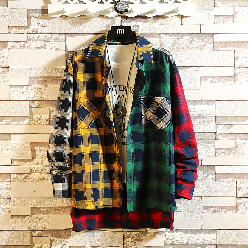 2019 Personality Korean Version Of The Trend Of Color Matching Slim Fit Plaid Shirt Men Casual Hip Hop Loose Long-sleeved Shirts