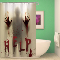 Creative shadow shower curtain fabric shower curtain halloween bath curtain bathroom curtain haunted mansion hot selling