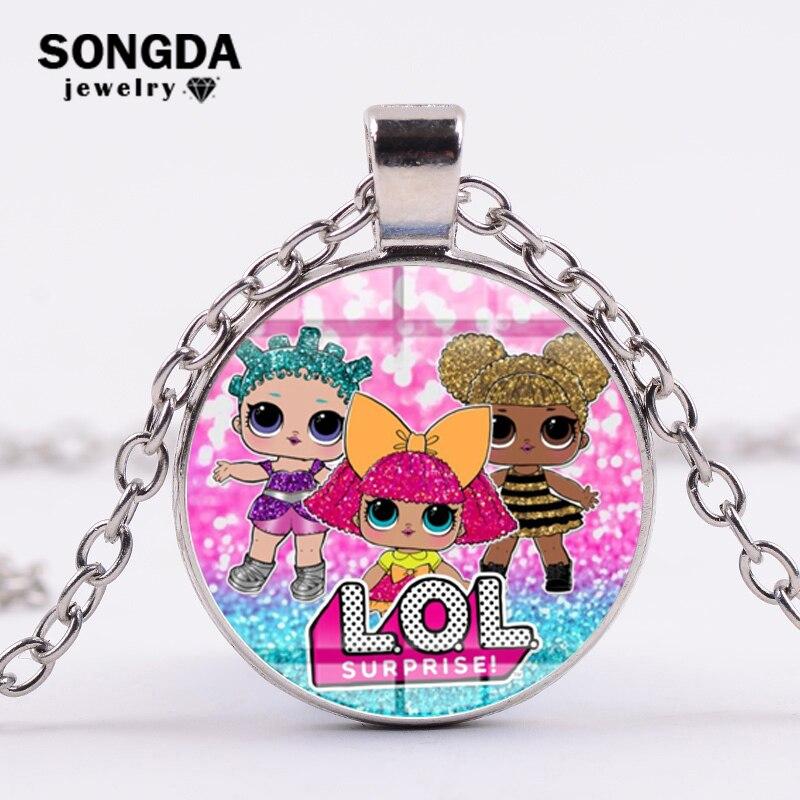 SONGDA LOL Surprise Cartoon кулон в форме куклы ожерелье Мода сверкающая Принцесса Серия длинное ожерелье для маленьких девочек детские украшения