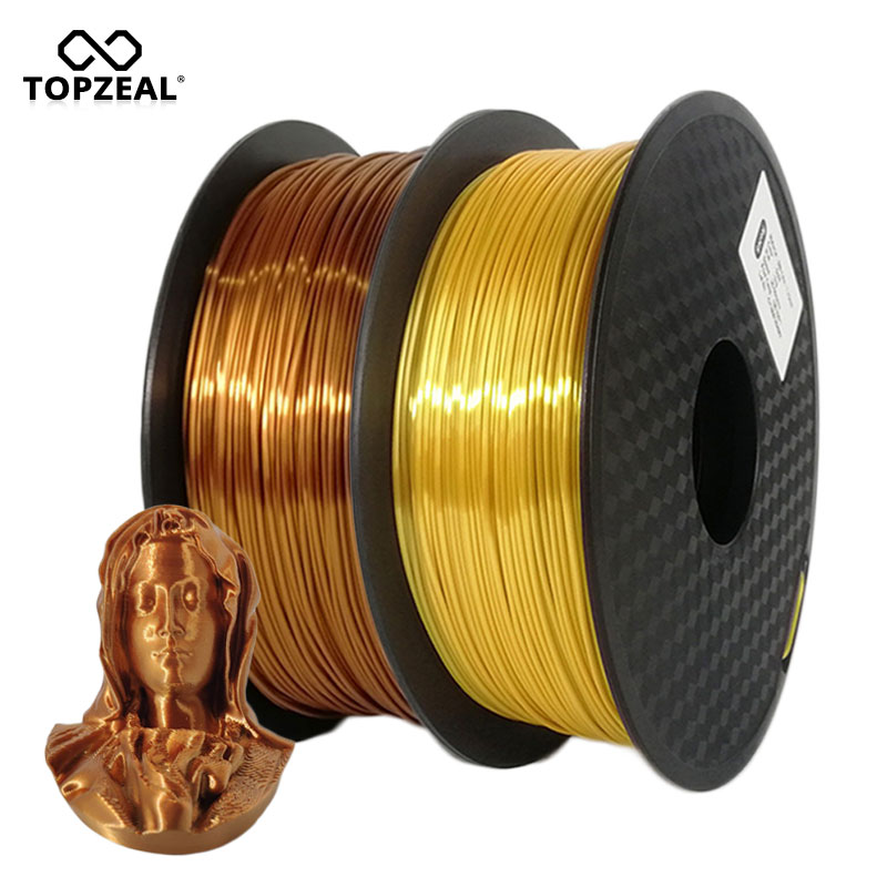 TOPZEAL High Quality 3D Printer Filament Silk PLA 1.75mm 1KG Copper Golden Silver Silk Texture Feeling 3D Printing Material