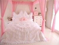 Cotton+Lace Princess style Luxury Wedding Bedding Set King Queen Twin size Girls Women Bed skirt set Duvet Cover Pillow shams36