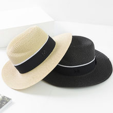 2018 Nova Moda Chapéus de Verão Mulheres Rodada Fita Chapéus De Palha Jazz  Senhora Casual Praia Chapéu Panamá Chapéu Chapeau Fem. 3b20dd8e304