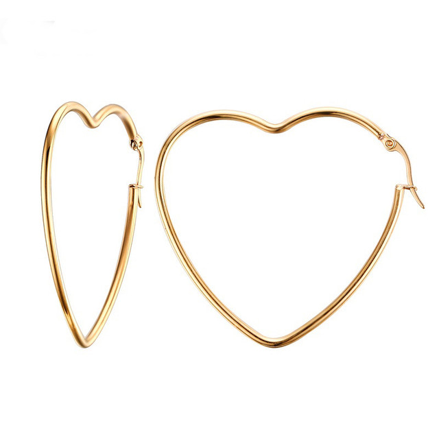 Linsoir 2017 New Gold Color Love Heart Earrings Hoop For Women Stainless Steel Round Statement
