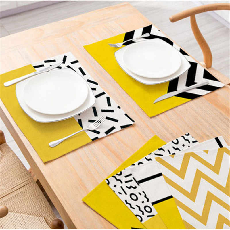 Creative Geometric Printed Kitchen Placemat Dining Table Mat Coaster Cotton Linen Polyester Pads Cup Bowl Coaster Decoration