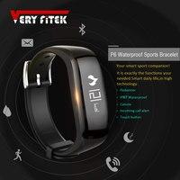 P6 VERYFiTEK Inteligentny Zespół Wiadomość Przypomnienie Zegarek Krokomierz Krok Licznik Kalorii Wristband Bransoletka dla xiomi pk fit bit
