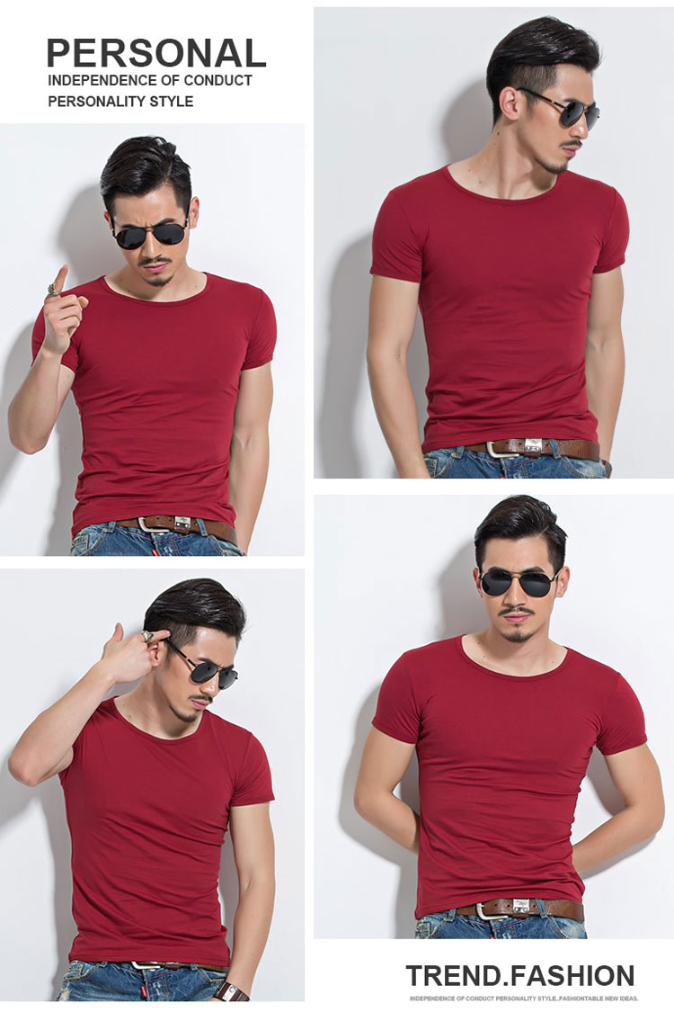 HTB1ZPnoSpXXXXc4aFXXq6xXFXXXM - Lycra Men'S T Shirt Short Sleeve T-Shirt O-Neck Slim Solid Color Half Sleeved Tee Shirt MRMT