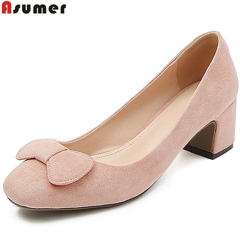 ASUMER red fashion 2018 spring autumn shoes woman square toe pumps women shoes flock elegant high heels shoes big size 33-43 asumer black wine red 2018 spring autumn ladies pumps pointed toe shallow elegant dress shoes women high heels shoes size 43
