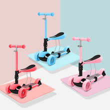 The newest 3 in 1 Scooter for children baby walker removable SEAT three-wheel children adult Kick Scooter folding infant shining scooter children to the 2 3 6 10 years old children three round folding scooters flash slide block toys