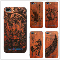 Cool Dragon Eagle Horse Vintage Wood Phone Case For Iphone 6 6s Plus 7 7Plus 5