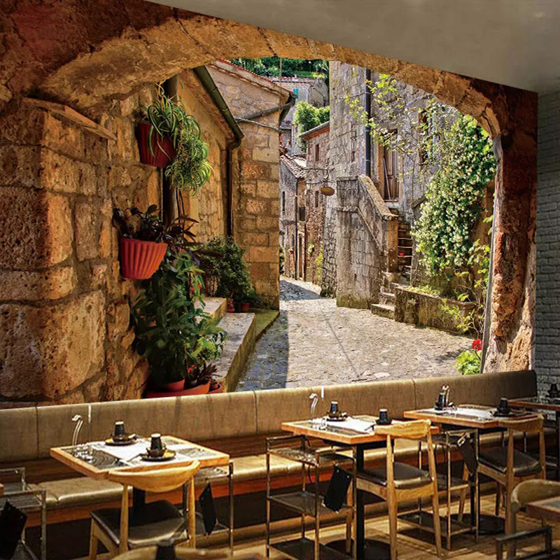 Custom 3D Wallpaper Murals European Town Street View Photo Wall Paper Kitchen Living Room Restaurant Home Decoration Painting