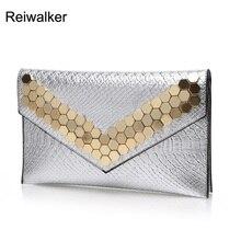 Reiwalke Luxus Frauen Lederhandtaschen Tageskupplungen Taschen Niet Messenger Bags Damen Umschlag Abend Party Taschen