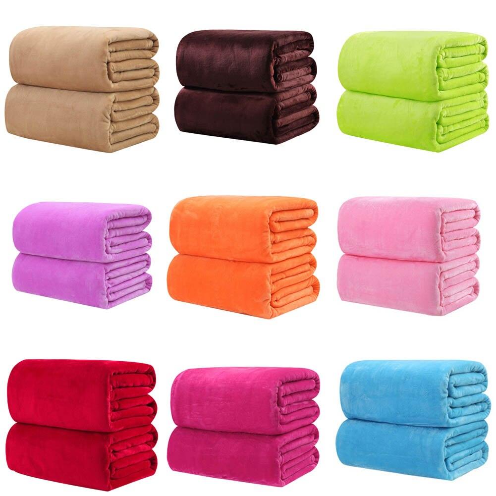 Solid color Flannel Blanket sofa/bedding Throws soft Plaids winter Warm flat sheet 50*70cm / 100*150cm
