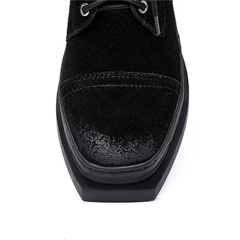 Pour Femmes Suédé Chaussures Plat En Masgulahe Classique Bout Cheville Avec Mode Noir Cuir Dames Hiver Bottes Automne 2018 Carré XxxRgvI