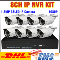 News 36pcs IR LED 1 3MP HD IP Cameras 8ch 1080P 960P NVR KIT Outdoor Waterproof