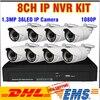 News 36pcs IR LED 1 3MP HD IP Cameras 8ch 1080P 960P NVR KIT Outdoor Waterproof