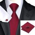 2016 Мода Wine Red Solid Галстук Носовой Платок Запонки 100% Шелк Галстук Галстуки Для Мужчин Деловых Свадьба С-430