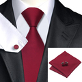 2016 Fashion Wine Red Solid Tie Hanky Cufflinks 100%Silk Necktie Ties For Men Formal Business Wedding Party C-430