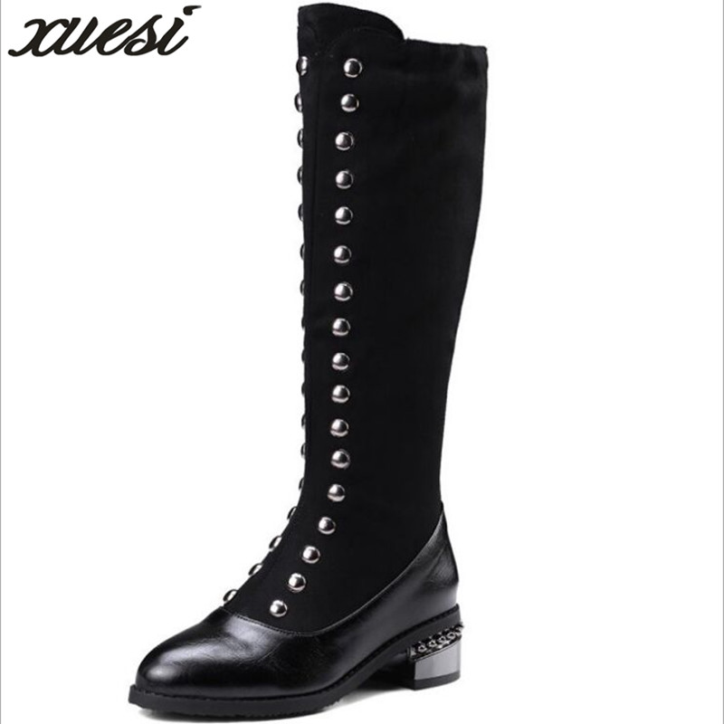 High Knee Boots Sexy Boots Shoes Botines Mujer 2018 Womens Leather Shoes Chaussure Femme Bottes Sexy Women Winter Boots Warm women shoes scarpe donna elastic boots botines mujer sapato feminino round toe chaussure femme schoenen vrouw over knee boots