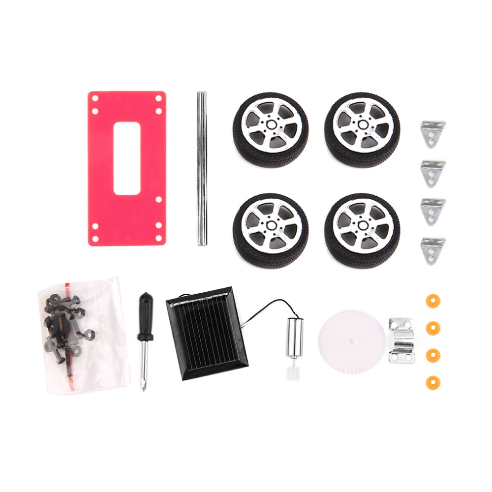 Hot 3sets Self assembly Mini Solar Powered DIY Red Car Kit Children Educational Toy Gadget Gift