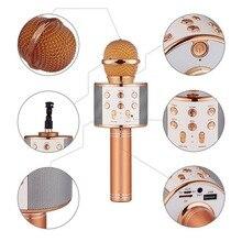 Модный Bluetooth беспроводной микрофон WS-858 караоке динамик микрофона ручной музыкальный плеер микрофон для вокала, с рекордером KTV MIC