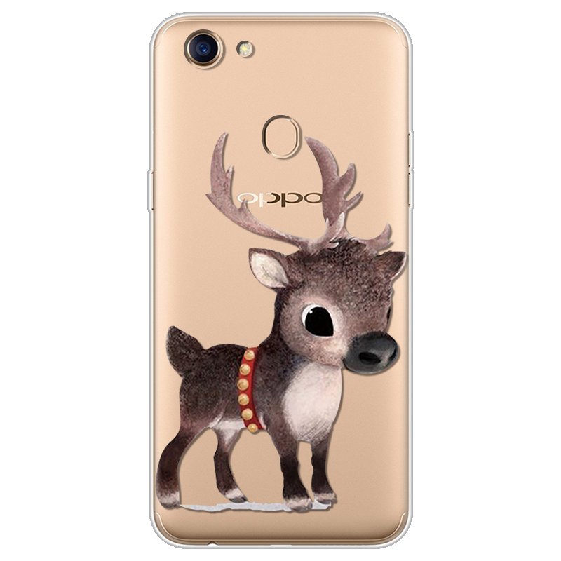 Christmas Deer Elk Luxury Phone Case For OPPO F5 F7 F9 Silicone TPU Back Cover Ultra Thin Soft Coque Xmas Tree For OPPO F9 Case