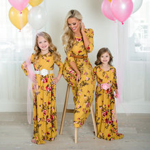 Mother And Daughter Dresses Mommy and me clothes Yellow Floral Printed Three Quarter Long Dress Mom daughter dress E0222
