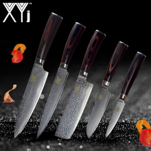 XYj Brand Damascus Kitchen Knives 5 Pcs Set High Quality 73 Layers VG10 Japanese Steel Blade Color Wood Handle Cooking Knives